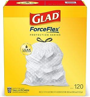 کیسه های زباله طناب کشی دار آشپزخانه Glad ForceFlex Tall 13 کیسه زباله سفید گالن ، 120 عدد بدون بو (بسته ممکن است متفاوت باشد)