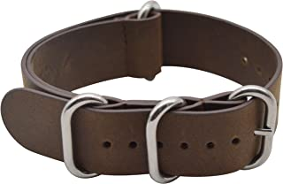 Vintage Crazy Horse Leather Watch Band with Double Sides Leather Watch Strap