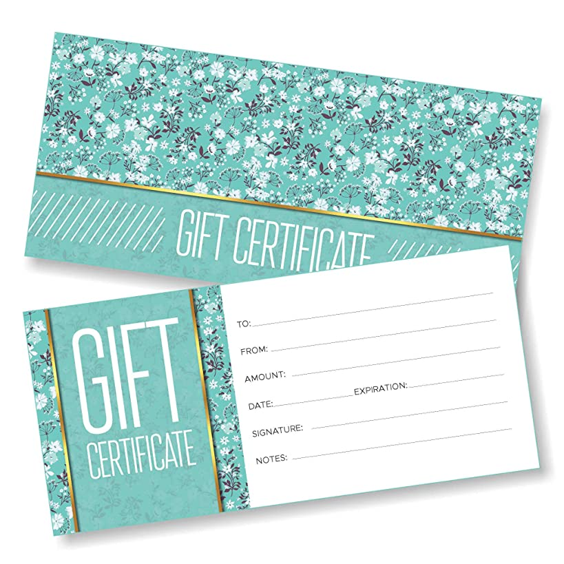 25 Blank Gift Certificates for Business - Spring Design - Size 4