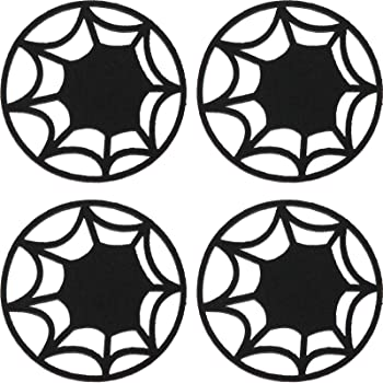 Boao 4 Pieces Halloween Spider Placemats Set Halloween Spider Web Coasters Placemat Table Placemats Doilies Halloween Table Décor Spider Web Doilies