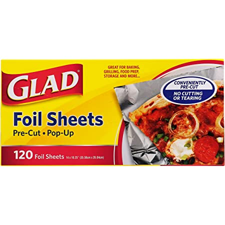 Glad Food Prep & Storage BB11997 | Pre Pop Up Aluminum Foil Sheets for Baking, Grilling, and Food Prep, 120 Count, | No Cutting or Tearing