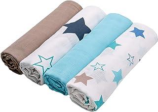 Zollner 4 mantas de muselinas para bebé algodón 100%, 120x120 cm, muy grandes