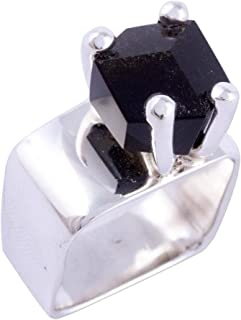 Obsidian .925 Sterling Silver Taxco Ring, Facets'