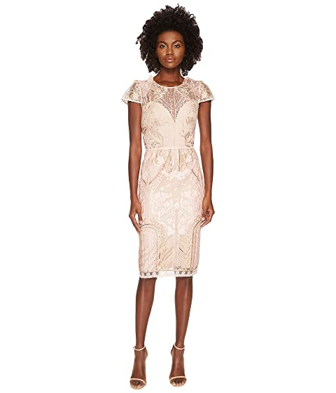 Marchesa Notte Embroidered Cocktail w/ Cap Sleeves
