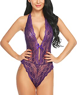 ADOME Women Sexy Lingerie Lace Teddy Bodysuit Backless Halter Babydoll