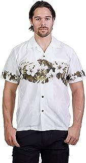 Favant Tropical Luau Beach Hibiscus Band Floral Print Men's Hawaiian Aloha Shirt