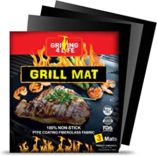 GRILLING 4 LIFE Grill Mat - 2019 Set of 3 Premium and Heavy Duty Heat-Resistant Up to 600 Degree BBQ Grill Mats