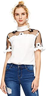 Women's Fashion Contrast Embroidered Floral Mesh Blouse Summer Elegant Collared Pleated Top White