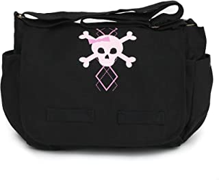 Heavyweight Canvas Carry-All Diaper Baby Bag with Argyle Skull Design One Size Black EPMG003-BKMC