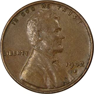 1942 D 1c Lincoln Wheat Cent Penny US Coin Average Circulated