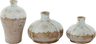 Creative Co-op Brown & White Terracotta Vases with Distressed Finish (Set of 3 Sizes)