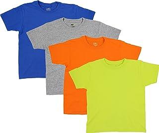 AURO Packs of 4 & 8 Boys Premium Cotton Comfort Crew Neck Tees - Sizes XS - XL