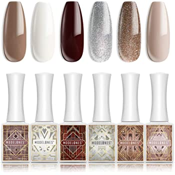 Gel Nail Polish Holiday Fall Winter Gel Polish 6 PCS 10ML White Nude Glitter Brown Gold Burgundy Soak Off Nail Gel Polish Gel Top Coat Base Coat LED Nail Lamp Needed Gel Polish Kit Home Use with Beauty Gift Set by Modelones