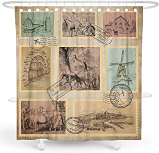 DESIHOM Antique Shower Curtain Vintage Lodge Shower Curtain Primitive Shower Curtain Rustic Shower Curtain Farm Cow Windmill Cabin Shower Curtain Farmhouse Polyester Waterproof Shower Curtain 72x72