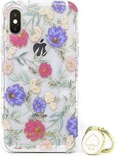 Kate Spade Hybrid Case & Attachable Ring Stand iPhone X - iPhone Xs - Clear/Flowers
