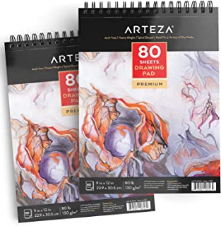 ARTEZA 9X12 Drawing Pad, Pack of 2, 160 Sheets (80lb/130g), Spiral Bound Artist Drawing Books, 80 Sheets Each, Durable Acid Free Drawing Paper, Ideal for Kids & Adults, Bright White