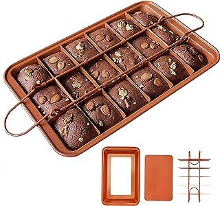 Hbsite Moulle Brownie avec diviseurs Plaque de Cuisson Brownie antiadhésive Ustensiles de Cuisson Brownie Pan Ustensiles d...