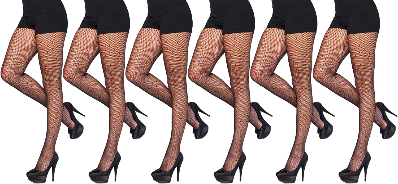 Womens Fishnet Pantyhose, 6 Pack, Comfortable Durable Nylon Stockings, Patterned Ladies Mesh Net
