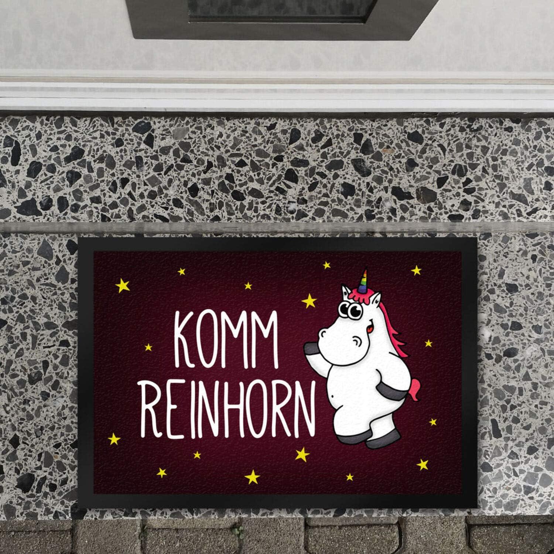Fußmatte Einhorn Honeycorns Schmutzfänger unicorn Stern Sterne Komm Reinhorn