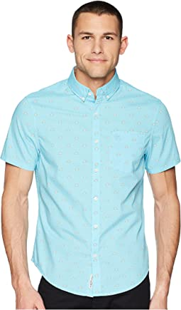 Original Penguin - Short Sleeve Sunshine Print Stretch Poplin