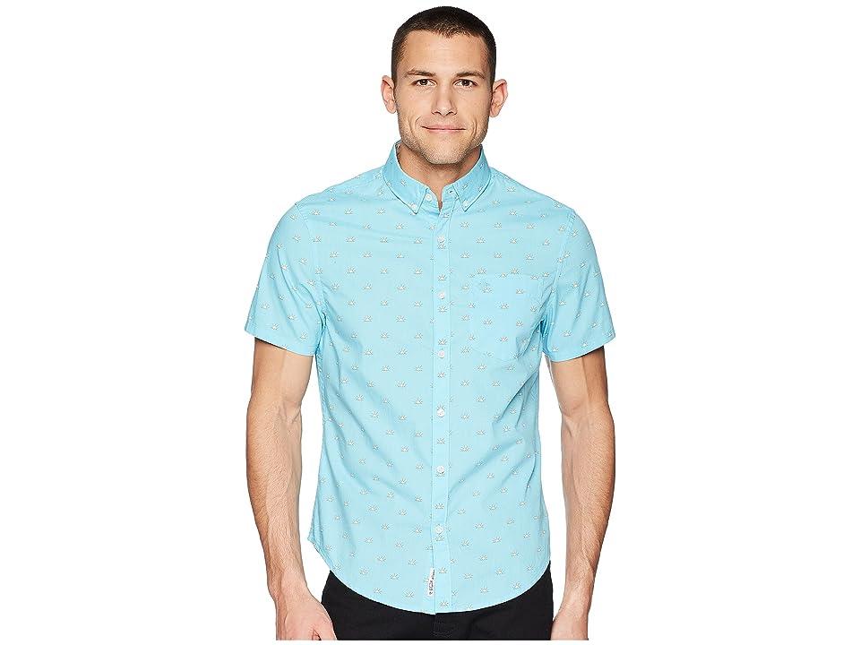 Original Penguin Short Sleeve Sunshine Print Stretch Poplin (Blue Topaz) Men's T Shirt