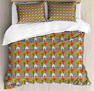 Ambesonne Mid Century Duvet Cover Set, Flying Hummingbird and Colorful Trees Simple Nature with Modernist Art Approach, Decorative 3 Piece Bedding Set with 2 Pillow Shams, King Size, Umber Green