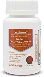 Best ValuMeds Nasal Decongestant PE (225 Tablets) Non-Drowsy   Phenylephrine HCl 10mg to Relieve Sinus Pressure   Comparable to Sudafed PE Congestion Review