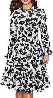 HOMEYEE Women's Long Sleeve Casual Polka Dot Aline Swing Dress A130
