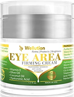 Wellution Eye Cream - Natural Formula with Hyaluronic Acid, Vitamin E & Aloe Vera - Made in USA - Anti Aging Cream for Wom...