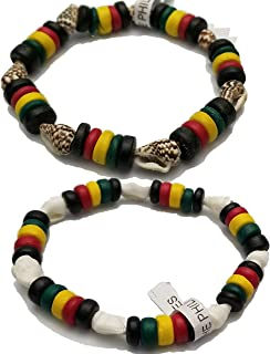 BUNFIREs 2pcs Rasta Cowrie Conch Shell Anklet Wrist Bracelet Puka Seashell Beaded Jamaican Jewelry Bracelets Beach