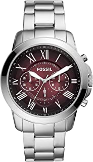Men's Grant Stainless Steel and Leather Chronograph Quartz Watch