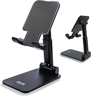 """Technomounts Foldable Cell Phone Stand for Desk, Portable Mobile Phone Holder for 3.5"""" - 11"""" (Black)"""