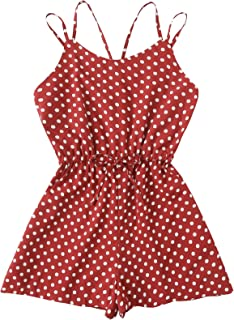 9697a5944708 Romwe Women s Vintage Sleeveless Self Tie Mid Waist Polka Dot Short Cami Romper  Jumpsuit
