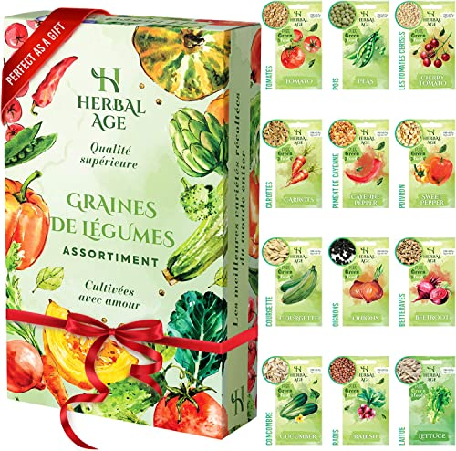 Cultivez votre propre potager –12 variétés de graines de légumes, 5100 graines prêtes à être cultivées – Kit de plant...