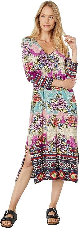 Ledona 3/4 Sleeve High Slit Knit Dress