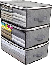 MOLOVA Foldable Closet Organizer Clothing Storage Bag Box with Clear Window, Waterproof Durable Fabric, Idea for Clothes, ...