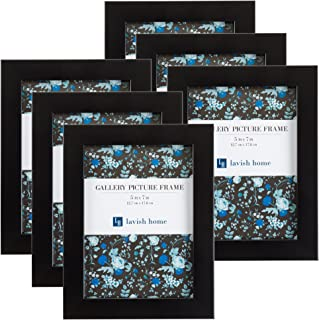 """Picture Frame Set, Pack for Picture Gallery Wall with Stand and Hanging Hooks, Set of 6 by Lavish Home, Black, 5""""x7"""""""
