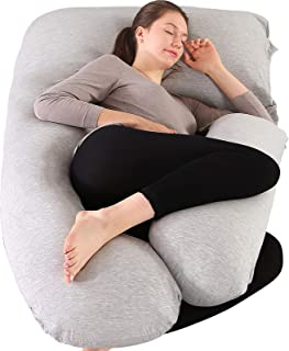 Elover Pregnancy Pillow U-Shaped Full Body Maternity Support Pillow for Pregnant Women with Support Detachable Extension Size 57
