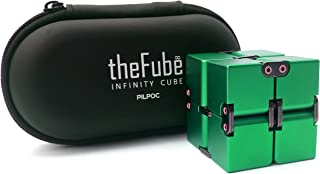 PILPOC theFube Fidget Cube Infinity Cube Desk Toy - Premium Quality Aluminum Infinite Magic Cube with Exclusive Case, Sturdy, Heavy, Relieve Stress and Anxiety, for ADD, ADHD, OCD (Green)