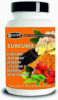 Cúrcuma y Vit C. Piperina Jengibre Acerola Vitamina C 130 Tabletas Antioxidante Dosis alta Extracto