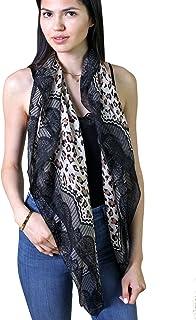 Anika Dali Women`s Leopard Lace Animal Print Natural Lightweight Silk Fashion Scarf, Black & Tan