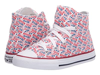 Converse Kids Chuck Taylor(r) All Star(r) License Plate (Little Kid/Big Kid) (White/University Red/Rush Blue) Kid