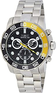 Invicta Men's Pro Diver Quartz Chronograph Black and Grey Dial Stainless Steel Band Watch - 21553