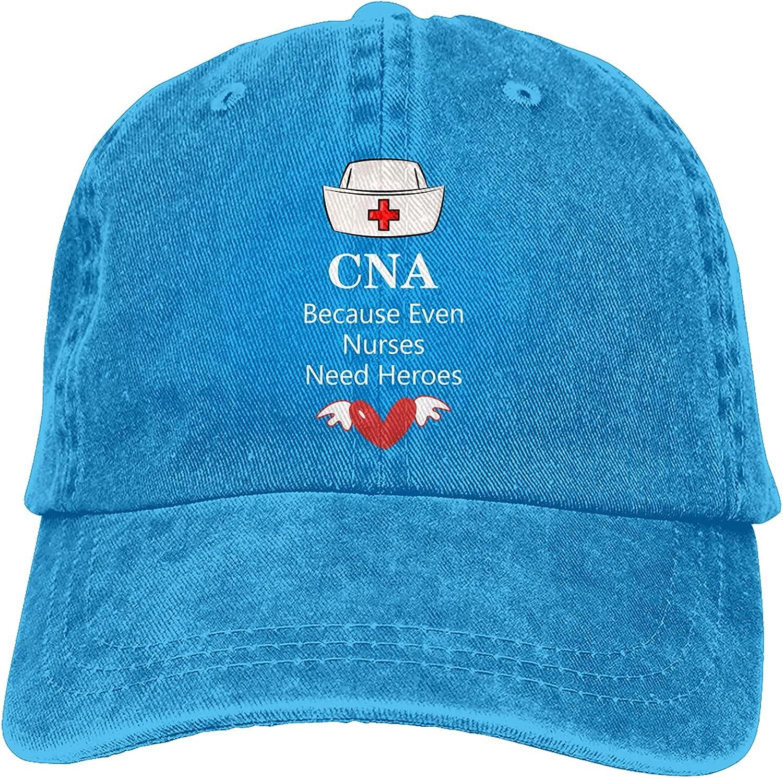 CNA Because Even Nurses Need Heroes Baseball Cap Trucker Hat Retro Cowboy Dad Hat Classic Adjustable Sports Cap for Men&Women Blue