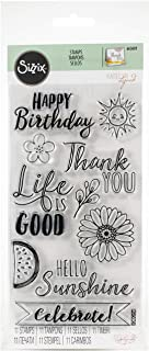 Sizzix Clear Stamps 663602, Hello Sunshine, Happy Birthday, Thank You, Summer, Spring, Fun, Celebrate, Multi Colour, One Size