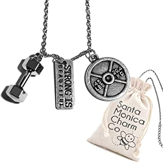 Santa Monica Charm Co. Strong is Beautiful Necklace with Dumbbell and 45lb Plate Pendants Gym, Bodybuilding Fitness Training Gift