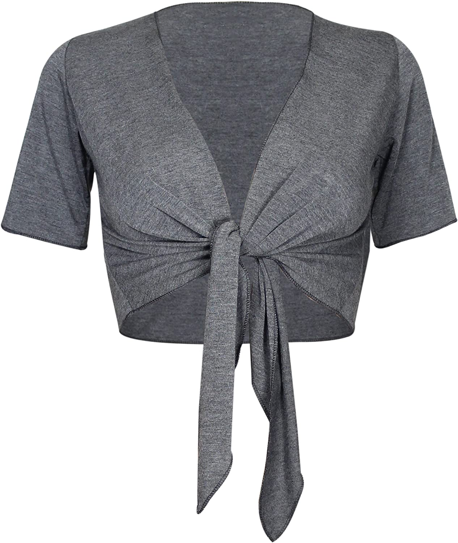 Purple Hanger Women's Bolero Top Cropped Cardigan Shrug Dark Grey Size 4-6