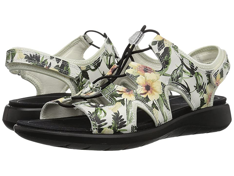 ECCO Soft 5 Toggle Sandal (White/Flower Print) Women