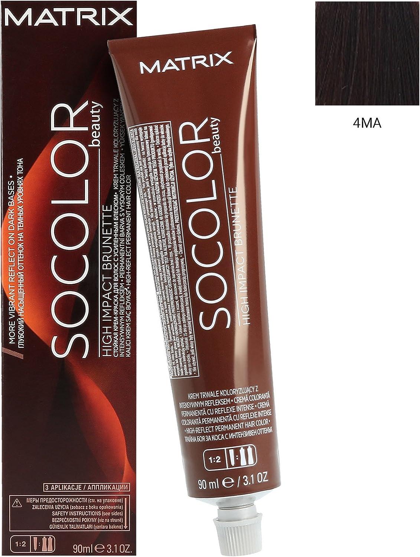 Matrix SoColor Beauty Coloración Permanente en Crema para el Cabello, Color 4Ma - 90 ml