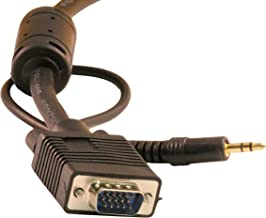 HD15 SVGA with 3.5mm Gold Plated Stereo Audio Male to Male Monitor Cable 35 Ft